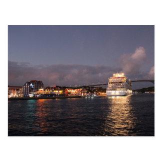 Willemstad Curacao - Queen Juliana Bridge at Night Postcard