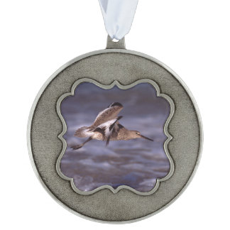 willet in flight scalloped pewter christmas ornament
