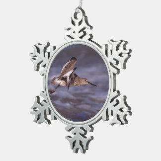 willet in flight snowflake pewter christmas ornament
