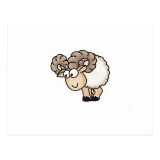 Willi el espolón - aries - ovejas masculinas - postal