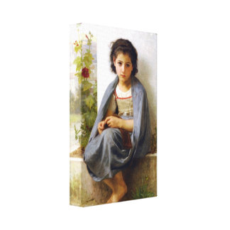 William-Adolphe Bouguereau - The Little Knitter Canvas Print