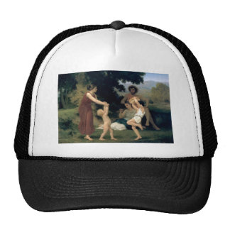 William-Adolphe Bouguereau-The Pastoral Recreation Mesh Hat