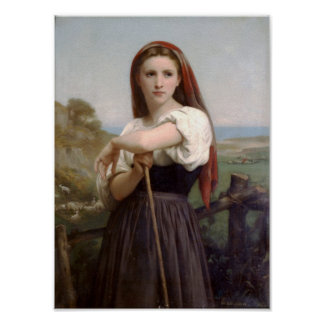 William-Adolphe Bouguereau-Young Shepherdess Poster