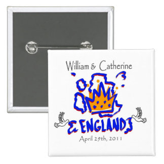 William And Catherine England Doves Pinback Buttons