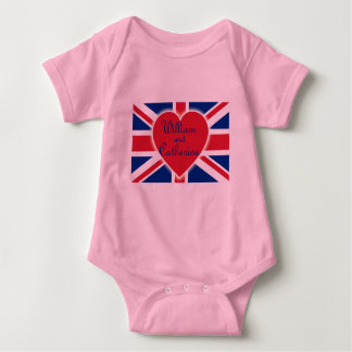 William and Catherine with Union Jack Products Baby Bodysuit