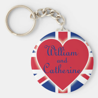 William and Catherine with Union Jack Products Basic Round Button Keychain