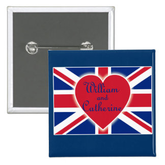William and Catherine with Union Jack Products Buttons