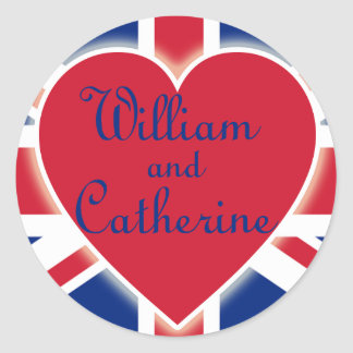 William and Catherine with Union Jack Products Classic Round Sticker