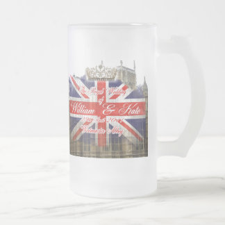William and Kate Royal Wedding Collectibles Frosted Glass Beer Mug