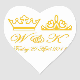 William and Kate Royal Wedding Heart Sticker
