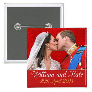 William and Kate Royal Wedding Kiss 2 Inch Square Button