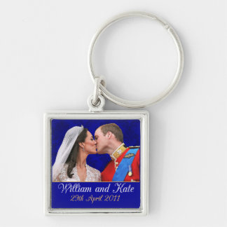 William and Kate Royal Wedding Kiss Silver-Colored Square Keychain