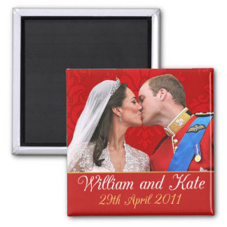 William and Kate the Royal Wedding Kiss 2 Inch Square Magnet