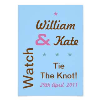William and Kate Tie The Knot Invite (5x7, Blue)