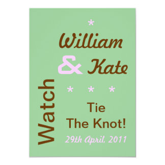 William and Kate Tie The Knot Invite (5x7, Green)
