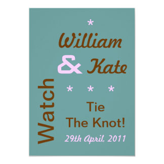 William and Kate Tie The Knot Invite (5x7, Teal)