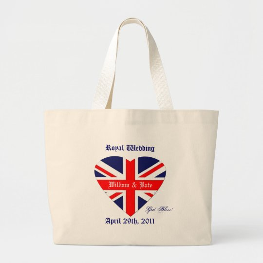 William and Kate/Wedding-Union Jack Heart Large Tote Bag