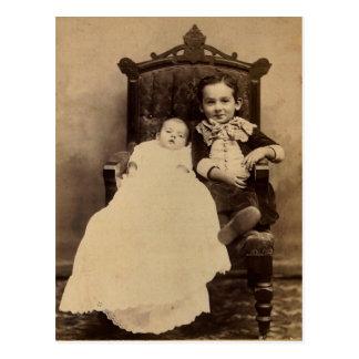 William & baby LAHR, circa 1880 Postcard