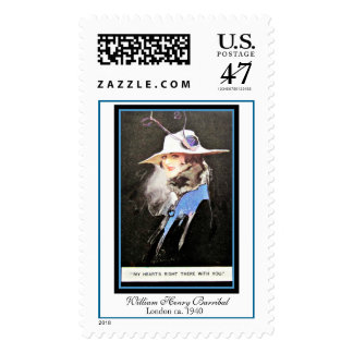 William Barribal Edwardian Woman Blue & White Hat Postage