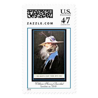 William Barribal Edwardian Woman Blue & White Hat Postage Stamp