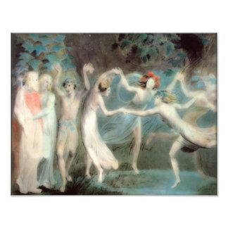 """William Blake 1786 """"Oberon Titania, Puck, Fairies"""" Photo Print"""