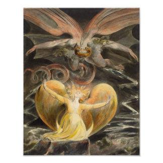 "William Blake 1805 ""The Great Red Dragon"" Print Photo Print"