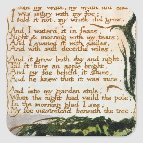 William Blake | A Poison Tree Square Sticker