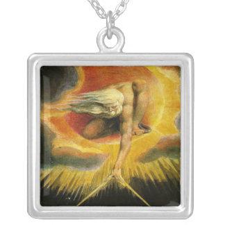 William Blake Art God Square Pendant Necklace