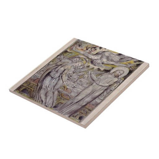 William Blake-Christ refusing the banquet by Satan Small Square Tile