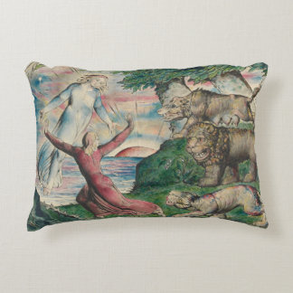 William Blake -Dante Running from the three Beasts Decorative Pillow