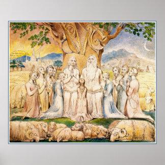 William Blake: Job & His Family Poster