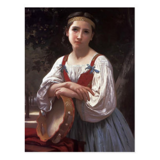 William Bouguereau- Gypsy Girl with a Basque Drum Post Card