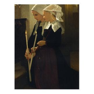 William Bouguereau- Prayer at Sainte Anne d'Auray Postcard