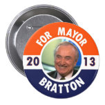 William Bratton for NYC Mayor in 2013 3 Inch Round Button