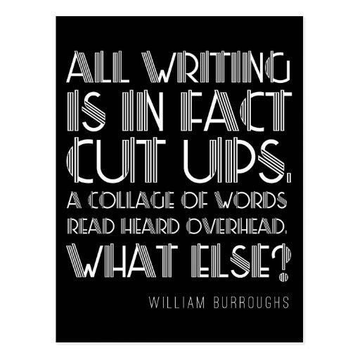 "William Burroughs ""Cut Ups"" Writing Postcard"