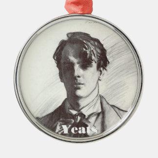 William Butler Yeats Round Metal Christmas Ornament