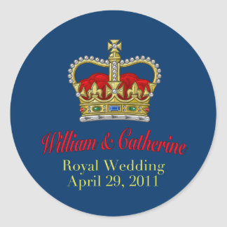 William & Catherine Royal Wedding April 29, 2011 Classic Round Sticker