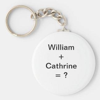 William + Cathrine = ? Basic Round Button Keychain