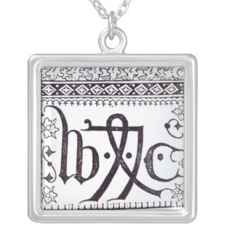 William Caxton's  Print Mark Silver Plated Necklace