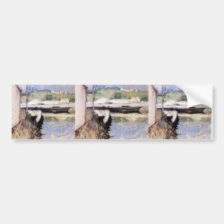 William Chase- Fish Sheds and Schooner, Gloucester Car Bumper Sticker