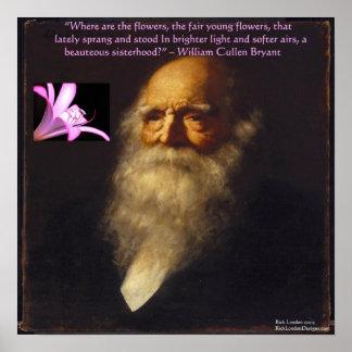 William Cullen Bryant Flower Poem Poster