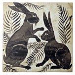 """William De Morgan Rabbits Ceramic Tile<br><div class=""""desc"""">One of William de Morgan&#39;s,  (1839 - 1917),  ceramic tiles featuring his famous rabbits.  He designed tiles,  stained glass and furniture for the famous Morris Company founded by William Morris.  He loved especially designing fantastical birds and animals which is what you see here.</div>"""