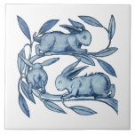 """William De Morgan Rabbits Ceramics Ceramic Tile<br><div class=""""desc"""">One of William de Morgan&#39;s, (1839 - 1917), ceramic tiles of rabbits running in a circle. He designed tiles, stained glass and furniture for the famous Morris Company founded by William Morris. He loved especially designing fantastical birds and animals which is what you see here. The background colour can be...</div>"""