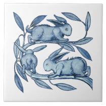 William De Morgan Rabbits Ceramics Ceramic Tile