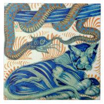 William De Morgan The Tiger And The Snake Ceramics Ceramic Tile
