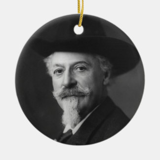 William F. Cody a.k.a. Buffalo Bill Portrait Double-Sided Ceramic Round Christmas Ornament