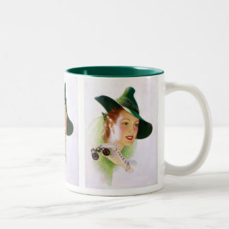 William Fulton Soare: Woman with Binocular Two-Tone Coffee Mug