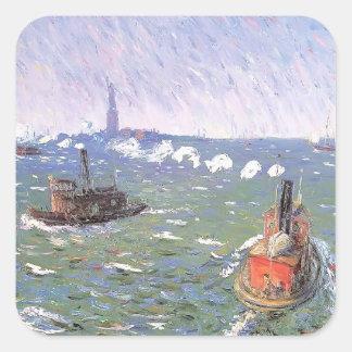 William Glackens- Breezy Day Tugboats Harbor Square Sticker