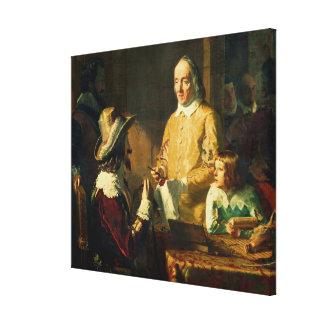 William Harvey  demonstrating to Charles I Canvas Print