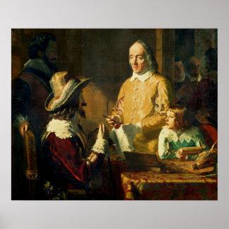 William Harvey  demonstrating to Charles I Poster